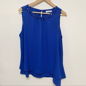 2/$20 Mandee Asymmetrical Blue Sleeveless Blouse
